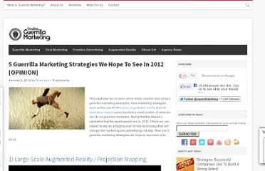 http://www.creativeguerrillamarketing.com/guerrilla-marketing/5-guerrilla-marketing-strategies-hope-2012-opinion/