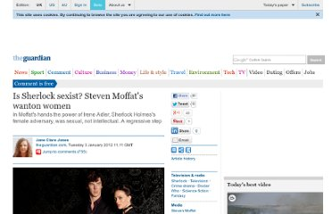 http://www.guardian.co.uk/commentisfree/2012/jan/03/sherlock-sexist-steven-moffat