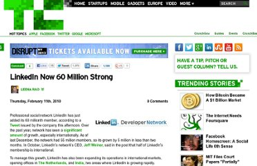 http://techcrunch.com/2010/02/11/linkedin-now-60-million-strong/