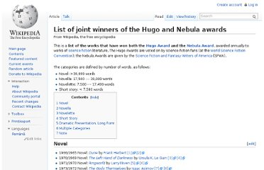 http://en.wikipedia.org/wiki/List_of_joint_winners_of_the_Hugo_and_Nebula_awards