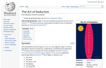 http://en.wikipedia.org/wiki/The_Art_of_Seduction