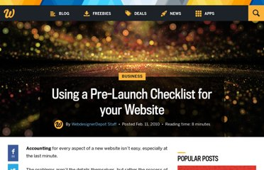 http://www.webdesignerdepot.com/2010/02/using-a-pre-launch-checklist-for-your-website/