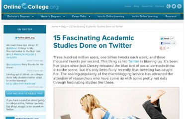 http://www.onlinecollege.org/2012/01/04/15-fascinating-academic-studies-done-on-twitter/
