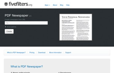http://fivefilters.org/pdf-newspaper/#bookmarklet-info
