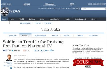 http://abcnews.go.com/blogs/politics/2012/01/soldier-in-trouble-for-praising-ron-paul-on-national-tv/