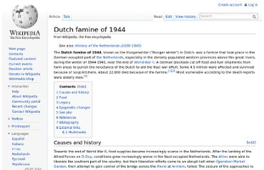 http://en.wikipedia.org/wiki/Dutch_famine_of_1944