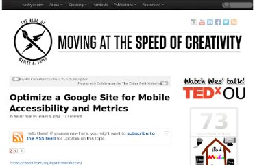 http://www.speedofcreativity.org/2012/01/05/optimize-a-google-site-for-mobile-accessibility-and-metrics-gct/