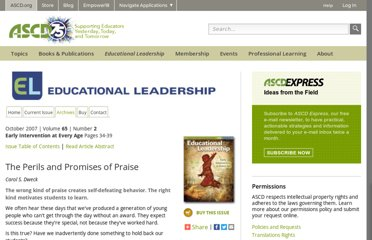 http://www.ascd.org/publications/educational-leadership/oct07/vol65/num02/The-Perils-and-Promises-of-Praise.aspx