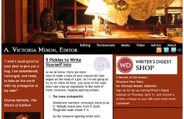 http://victoriamixon.com/2011/03/21/5-pickles-to-write-yourself-into/