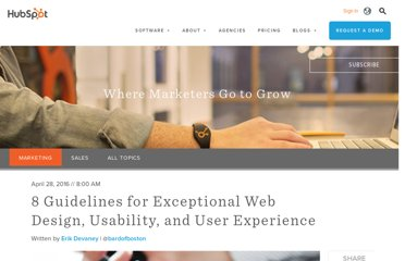 http://blog.hubspot.com/blog/tabid/6307/bid/30557/6-Guidelines-for-Exceptional-Website-Design-and-Usability.aspx