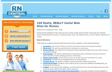 http://www.rncentral.com/nursing-library/careplans/100_really_useful_web_sites_for_nurses