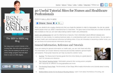 http://bsntomsn.org/2011/40-useful-tutorial-sites-for-nurses-and-healthcare-professionals/