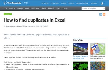 http://www.techrepublic.com/blog/msoffice/how-to-find-duplicates-in-excel/842