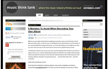 http://www.musicthinktank.com/blog/9-mistakes-to-avoid-when-recording-your-own-album.html