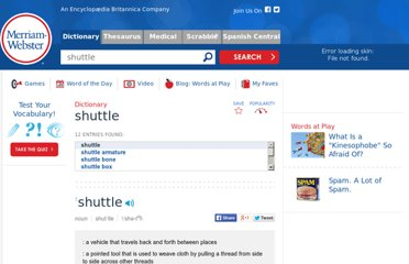 http://www.merriam-webster.com/dictionary/shuttle