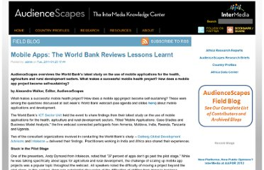 http://www.audiencescapes.org/mobile-apps-lessons-failures-and-success-stories-world-bank-health-sustainability