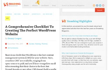 http://wp.smashingmagazine.com/2011/12/14/15-step-checklist-creating-perfect-wordpress-website/