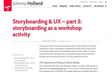 http://johnnyholland.org/2011/10/storyboarding-ux-part-3-storyboarding-as-a-workshop-activity/