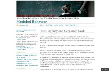 http://modeledbehavior.com/2012/01/07/tech-agency-and-corporate-cash/