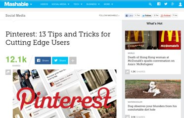 http://mashable.com/2012/01/08/pinterest-13-tips-and-tricks-for-cutting-edge-users/