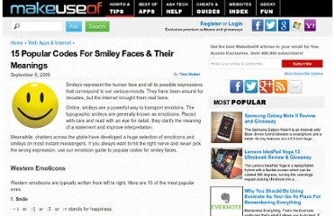 http://www.makeuseof.com/tag/15-popular-codes-for-smiley-faces-their-meanings/