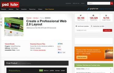 http://psd.tutsplus.com/tutorials/interface-tutorials/create-a-professional-web-2-0-layout/