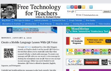 http://www.freetech4teachers.com/2012/01/create-mobile-language-lesson-with-qr.html