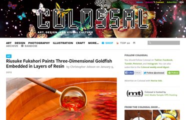 http://www.thisiscolossal.com/2012/01/riusuke-fukahori-paints-three-dimensional-goldfish-embedded-in-layers-of-resin/