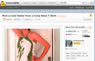 http://www.instructables.com/id/Mod-a-Cute-Halter-from-a-Crew-Neck-T-Shirt/