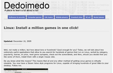 http://www.dedoimedo.com/games/linux-million-games.html