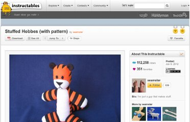 http://www.instructables.com/id/Stuffed-Hobbes-with-pattern/