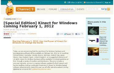 http://channel9.msdn.com/coding4fun/kinect/Special-Edition-Kinect-for-Windows-coming-February-1-2012