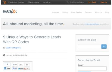http://blog.hubspot.com/blog/tabid/6307/bid/30678/9-Unique-Ways-to-Generate-Leads-With-QR-Codes.aspx