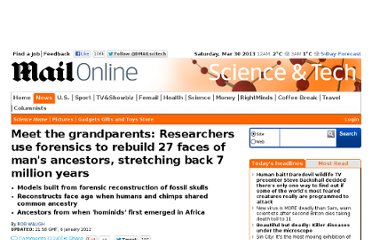 http://www.dailymail.co.uk/sciencetech/article-2083262/Exhibition-uses-forensics-rebuild-27-faces-mans-ancestors-stretching-7m-years.html