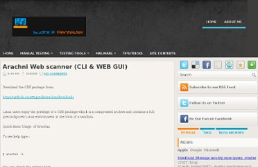 http://www.pentester.co.in/2012/01/arachni-web-scanner-cli-web-gui.html