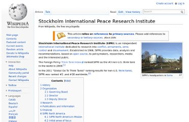 http://en.wikipedia.org/wiki/Stockholm_International_Peace_Research_Institute