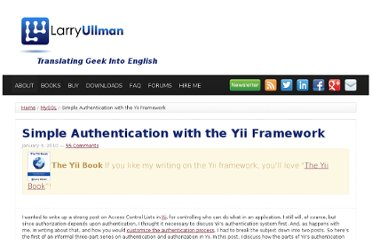 http://www.larryullman.com/2010/01/04/simple-authentication-with-the-yii-framework/