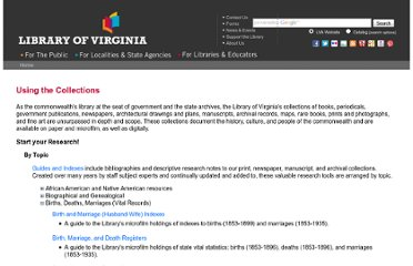 http://www.lva.virginia.gov/public/using_collections.asp#_guides-BirthsDeathsMarriagesVitalRecords
