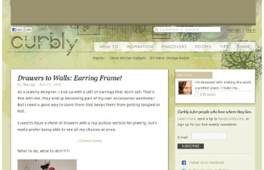 http://www.curbly.com/users/beccajo/posts/41-drawers-to-walls-earring-frame