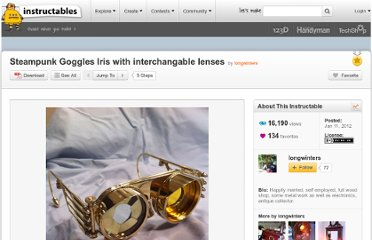 http://www.instructables.com/id/Steampunk-Goggles-Iris-with-interchangable-lenses/
