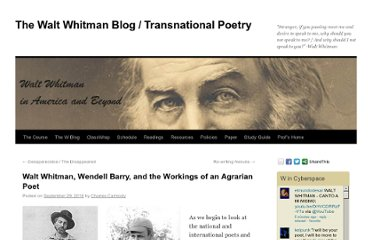 http://blogs.cofc.edu/whitman/2010/09/29/walt-whitman-wendell-barry-and-the-workings-of-an-agrarian-poet/