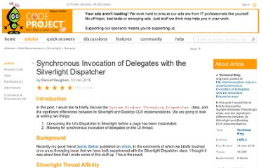 http://www.codeproject.com/Articles/51457/Synchronous-Invocation-of-Delegates-with-the-Silve