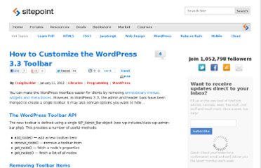 http://www.sitepoint.com/change-wordpress-33-toolbar/