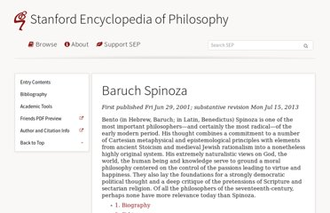 http://plato.stanford.edu/entries/spinoza/