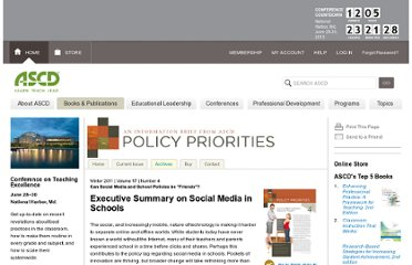 http://www.ascd.org/publications/newsletters/policy-priorities/vol17/num04/Executive-Summary-on-Social-Media-in-Schools.aspx