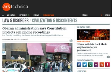 http://arstechnica.com/tech-policy/news/2012/01/obama-administration-says-constitution-protects-cell-phone-recordings.ars