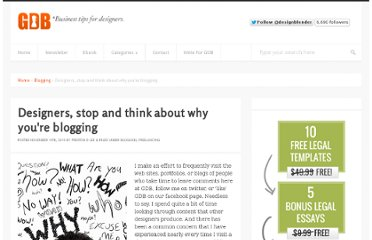 http://www.graphicdesignblender.com/designers-think-about-why-youre-blogging