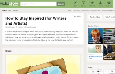 http://www.wikihow.com/Stay-Inspired-%28for-Writers-and-Artists%29