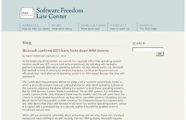 http://www.softwarefreedom.org/blog/2012/jan/12/microsoft-confirms-UEFI-fears-locks-down-ARM/