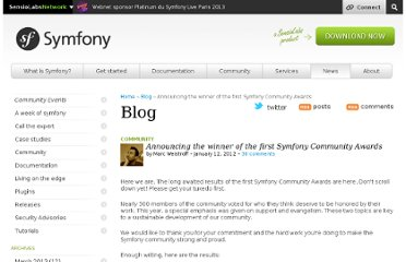 http://symfony.com/blog/announcing-the-winner-of-the-first-symfony-community-awards